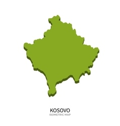 Isometric map of Kosovo detailed vector