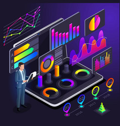 isometry of business men businessmen holographic vector image