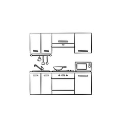 kitchen interior hand drawn sketch icon vector image