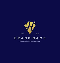 Letter h diamond gold logo design vector