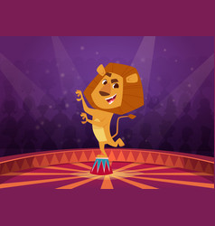 Lion in circus wild angry lion acrobat jumping in vector