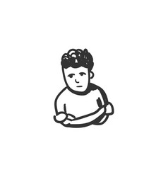 Loneliness feeling icon outline sketch drawing vector