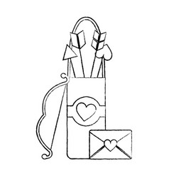 love bag bow arrow and message letter romance vector image