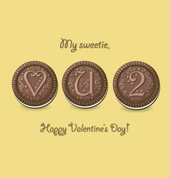 Love you too chocolate cookies with graceful vector