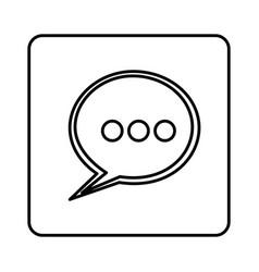 Monochrome contour square with speech bubble vector