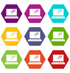 movie theater screen icons set 9 vector image