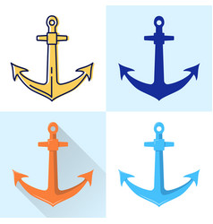 nautical anchor icon set in flat and line styles vector image