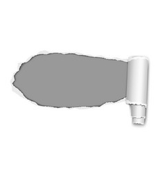 Oblong snatched hole from left to right in white vector