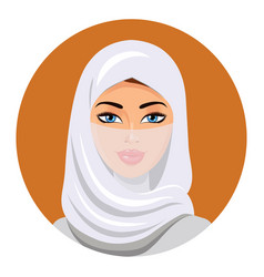 portrait of muslim woman using a white veil vector image