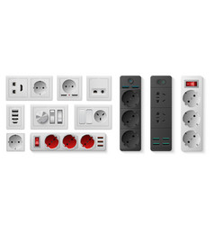 Power strip realistic electric socket with usb vector