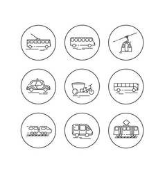 Public city transport flat llinear icons vector