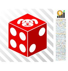 Puppy dice flat icon with bonus vector