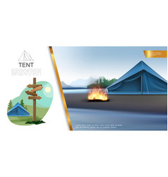 Realistic camping colorful concept vector