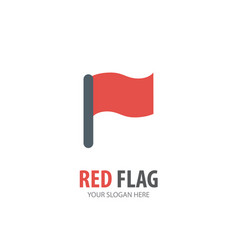 red flag logo for business company simple red vector image