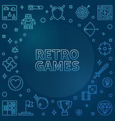 retro games concept blue outline frame vector image