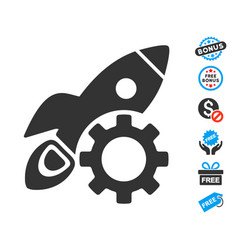 rocket science options gear icon with free bonus vector image