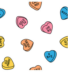 Rude valentine conversation hearts ironic candy vector