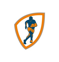 Rugby Player Running Shield Silhouette vector image