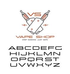 Sanserif wide font and vape shop emblem vector