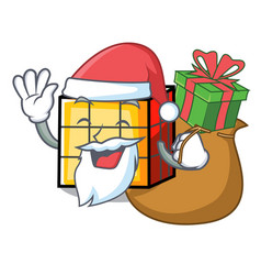Santa with gift rubik cube mascot cartoon vector