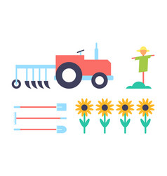 Scarecrow and tractor set vector