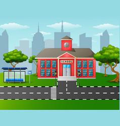 School building with bus stop vector