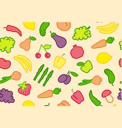 seamless fruit-vegetable background vector image