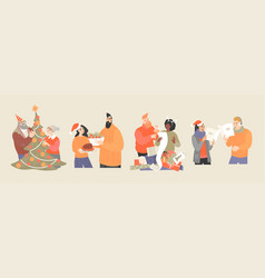 set different couples preparing for christmas vector image