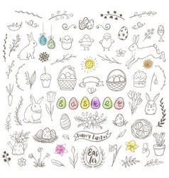 Set easter doodles vector