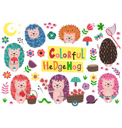 set isolated colorful hedgehogs vector image