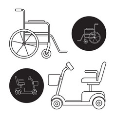 Set mobility scooter and wheelchair icons vector