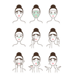Skin care procedure all stages on female model vector