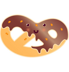Soft pretzel with poppy-seed isolated fresh tasty vector
