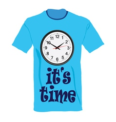 T-shirt in blue color with clock vector
