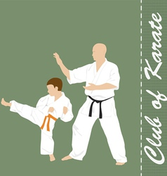 The man and the boy are engaged in karate vector