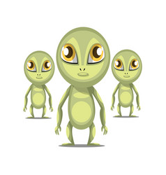 three cartoon aliens with long arms and big eyes vector image