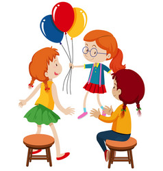 Three girls and balloons vector