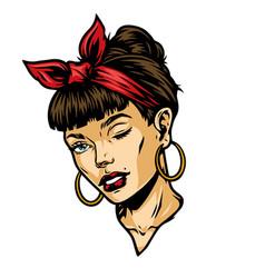 Vintage concept attractive winking woman head vector