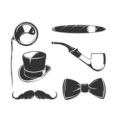 Vintage elements for tobacco gentlemen vector