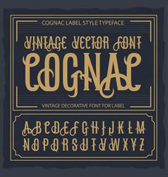 vintage label font cognac label style vector image
