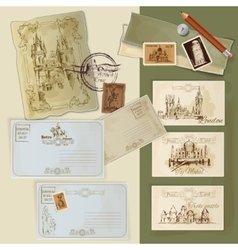 Vintage Postcards Set vector image