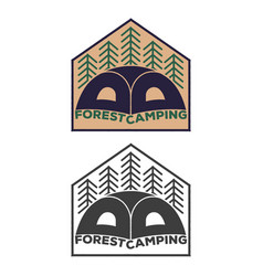 Vintage tent emblem with forest vector