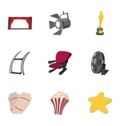 Watching movie icons set cartoon style vector image