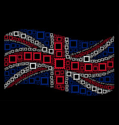 waving uk flag pattern of postage stamp items vector image
