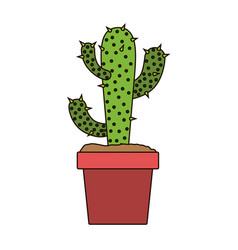 White background with cactus of three branch in vector