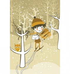 winter boy vector image