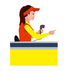 Woman cashier icon flat style vector