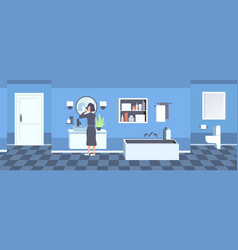 woman in bathrobe brushing teeth rear view girl vector image