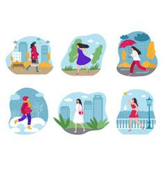 woman seasonal graphic female walking vector image