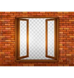 Wooden window on the windowsill vector image